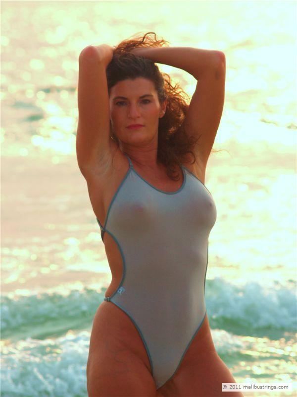 milf in one piece swimsuit