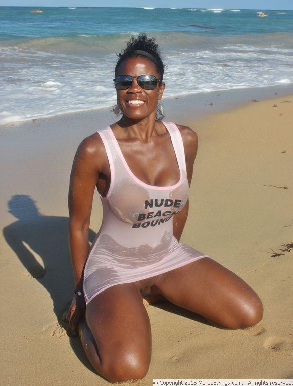 image Beautiful beach girl with big natural boobs