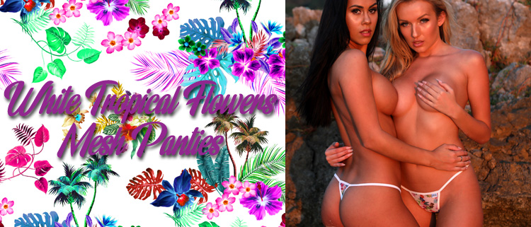 New White Tropical Flower Mesh Panties