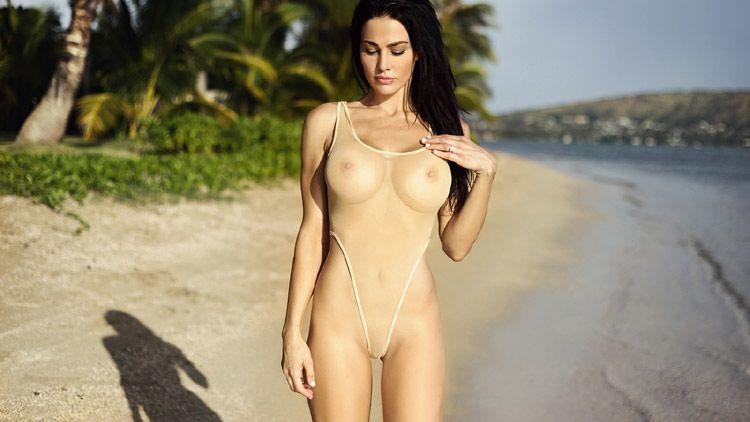 image Shopping in sheer panties